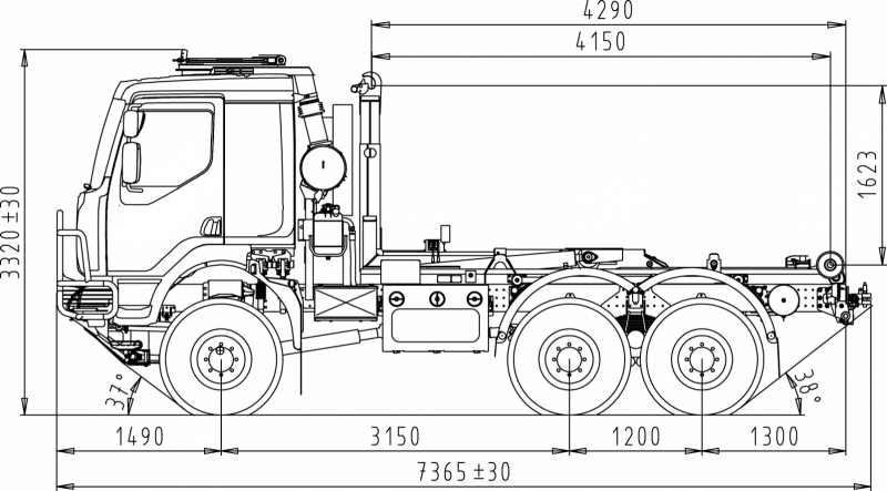 6x6 chassis cab with load handling unit. Black Bedroom Furniture Sets. Home Design Ideas